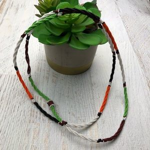 Vintage Indian bead double necklace